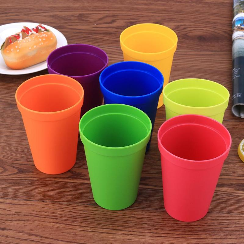 7pcs/set 7 Color Portable Rainbow Suit Cup Picnic Tourism Plastic Cups Mug Plastic Cups Water Battle Set Kids Drink Cup