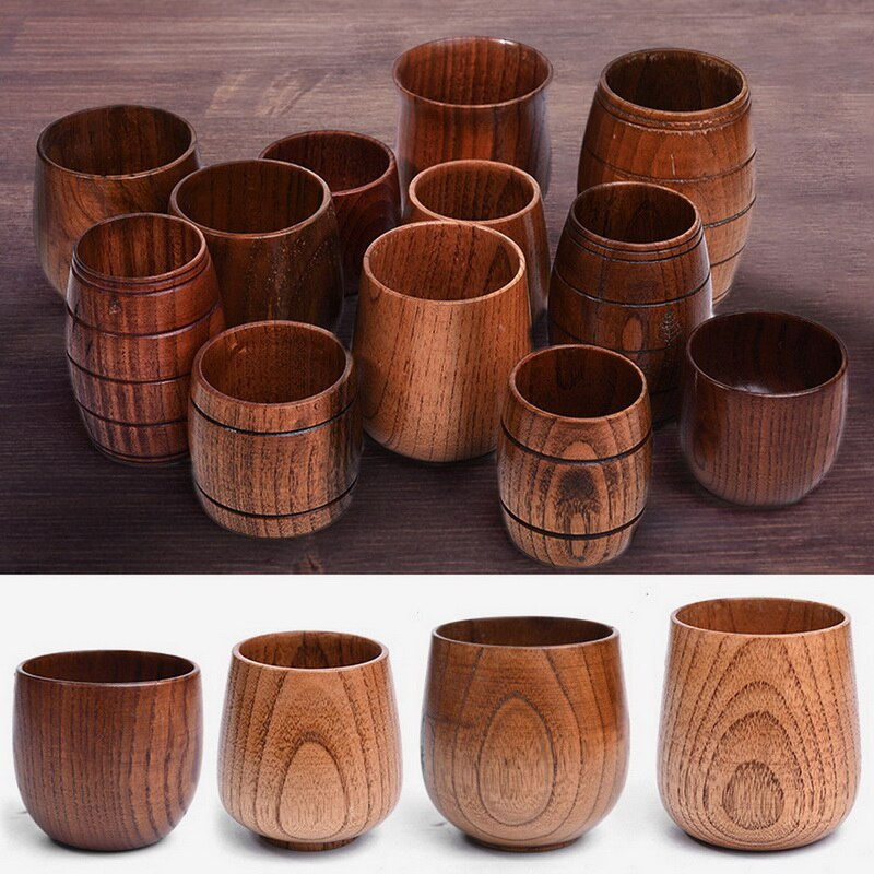 Wooden Big Belly Cups Handmade Natural Spruce Wood Cups Beer Tea Coffee Milk Water Cup Kitchen Bar Drinkware Dropshipping