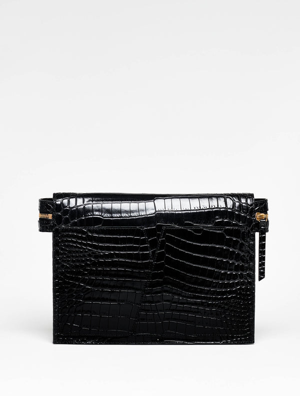 TIWA clutch Black croco