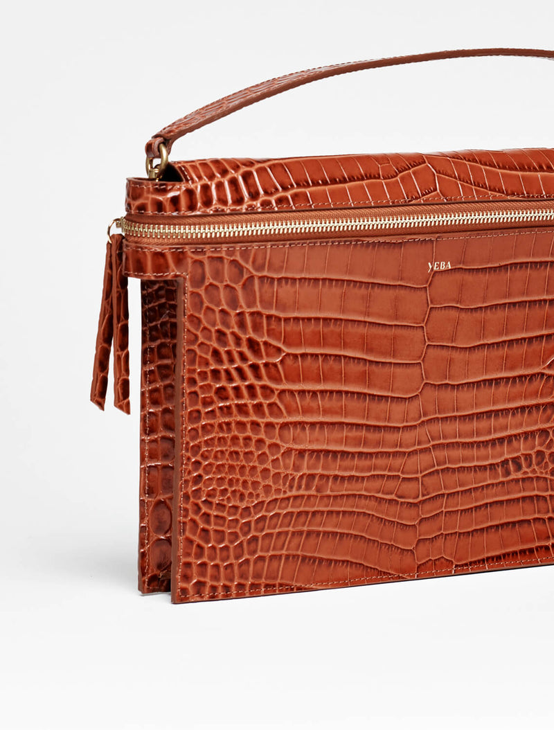 TIWA clutch Rust croco