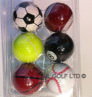 Set of 6 Novelty Golf Balls