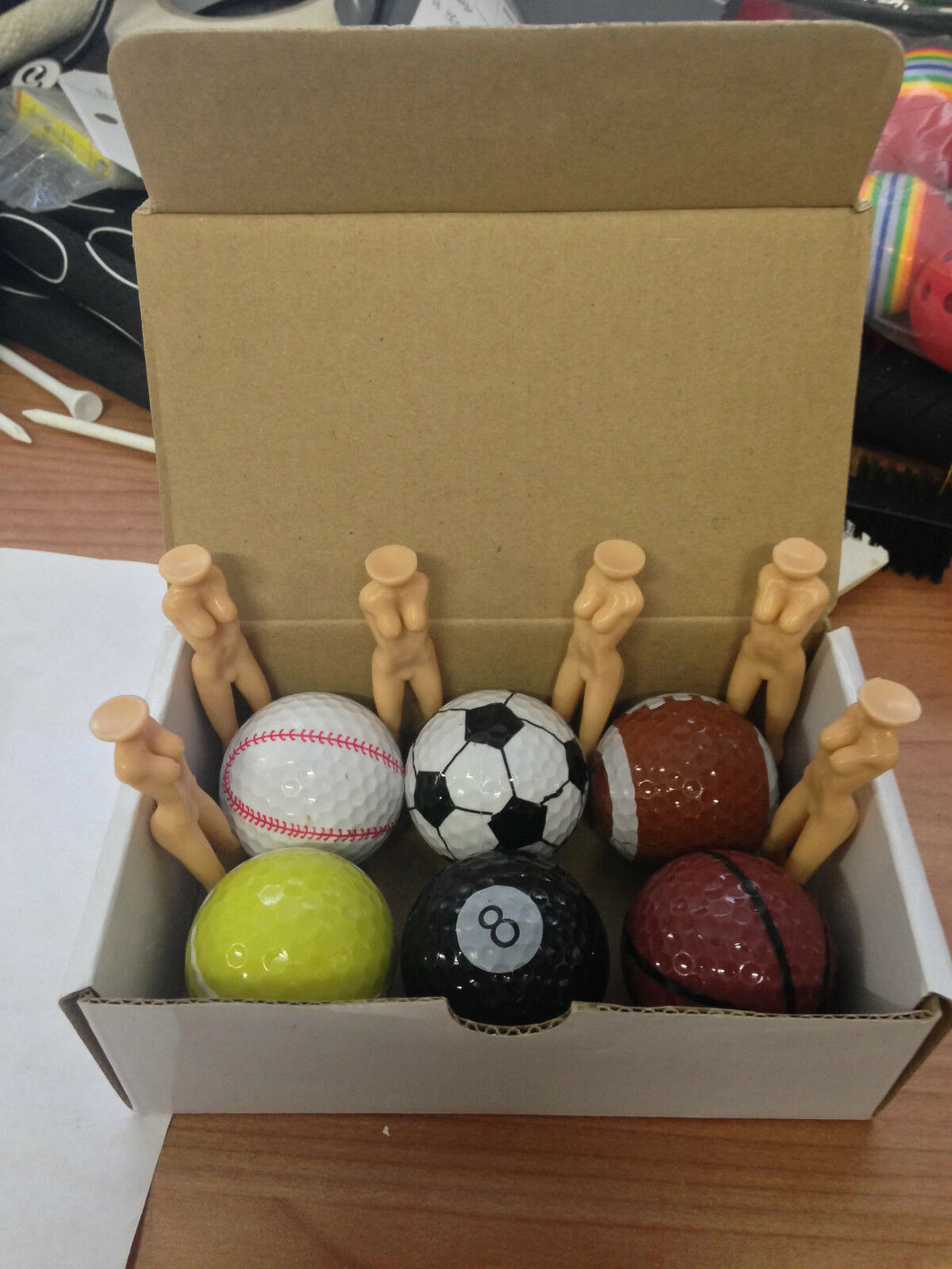 JL Golf Set of 6 novelty JL Golf sports balls & nuditees Joke/Gift tees
