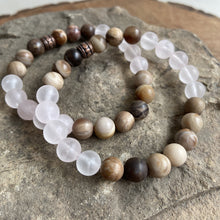 Load image into Gallery viewer, Rose Quartz and Wood Opal Bracelet