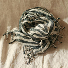 Load image into Gallery viewer, Fatima Hand-loomed Raw Cotton Scarf, in Black