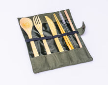 Load image into Gallery viewer, Portable Bamboo STRW Cutlery Set