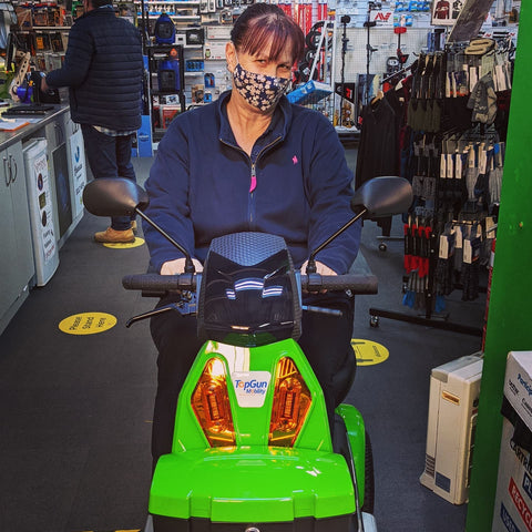Tracey on a Top Gun Mobility scooter