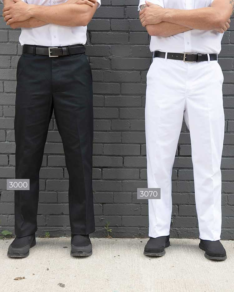 ECONO BLACK CHEF PANTS PLAIN FRONT POLY/COTTON