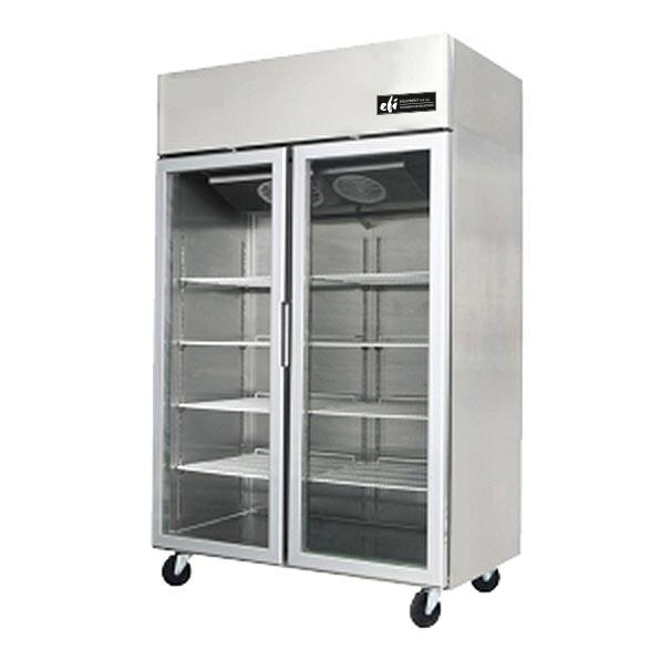 Versa-Chill Series Freezer Merchandiser, two-section, 43.2 cu. ft. capacity, top-mounted self-contained refrigeration, (2) self-closing glass doors