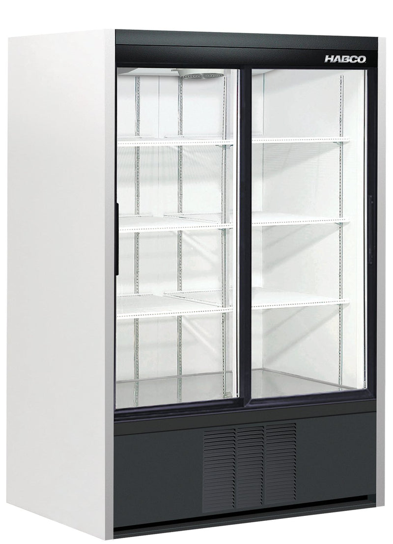 Refrigerated Display Merchandiser, two-section, 40.0 cu. ft., bottom mounted self-contained Cassette® refrigeration