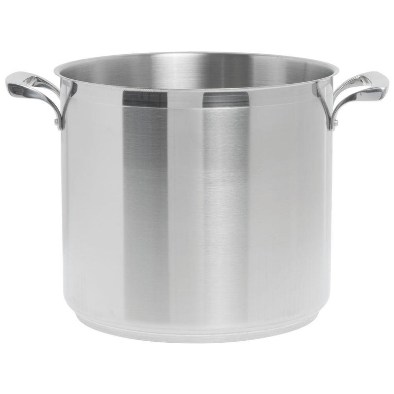 S/S 12qt. STOCK POT N/LID THERMALLOY TRI PLY BROWNE