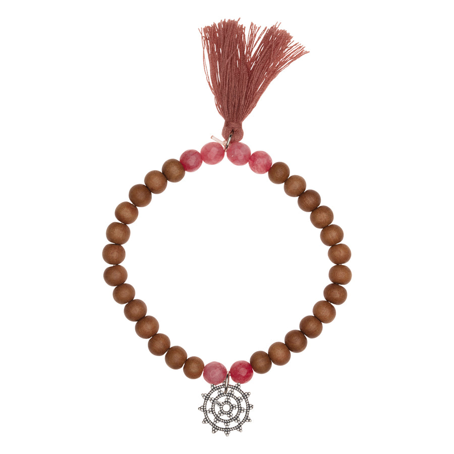 Shanti Bracelet Sandelholz-Stretch, Wheel of Karma & Rhodonit