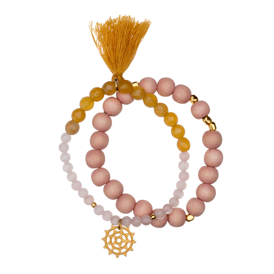 Handmala-Set, Wheel of Karma Gold, Rosenquarz&Achat