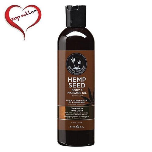 Earthly Body 8 oz. Hemp Seed Massage Oil - Multiple Scents - A Little More Interesting