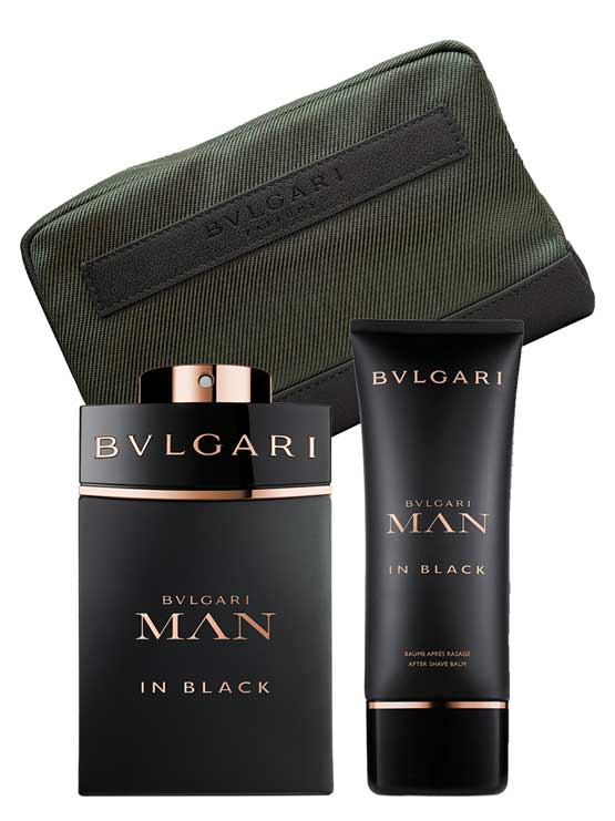 Bvlgari Man In Black Gift Set 100ML EDP + 100ML Aftershave Balm + Pouch