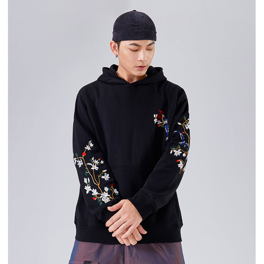 Magpie On Plum Blossom Embroidery Hoodie - 5 ELEMENTS