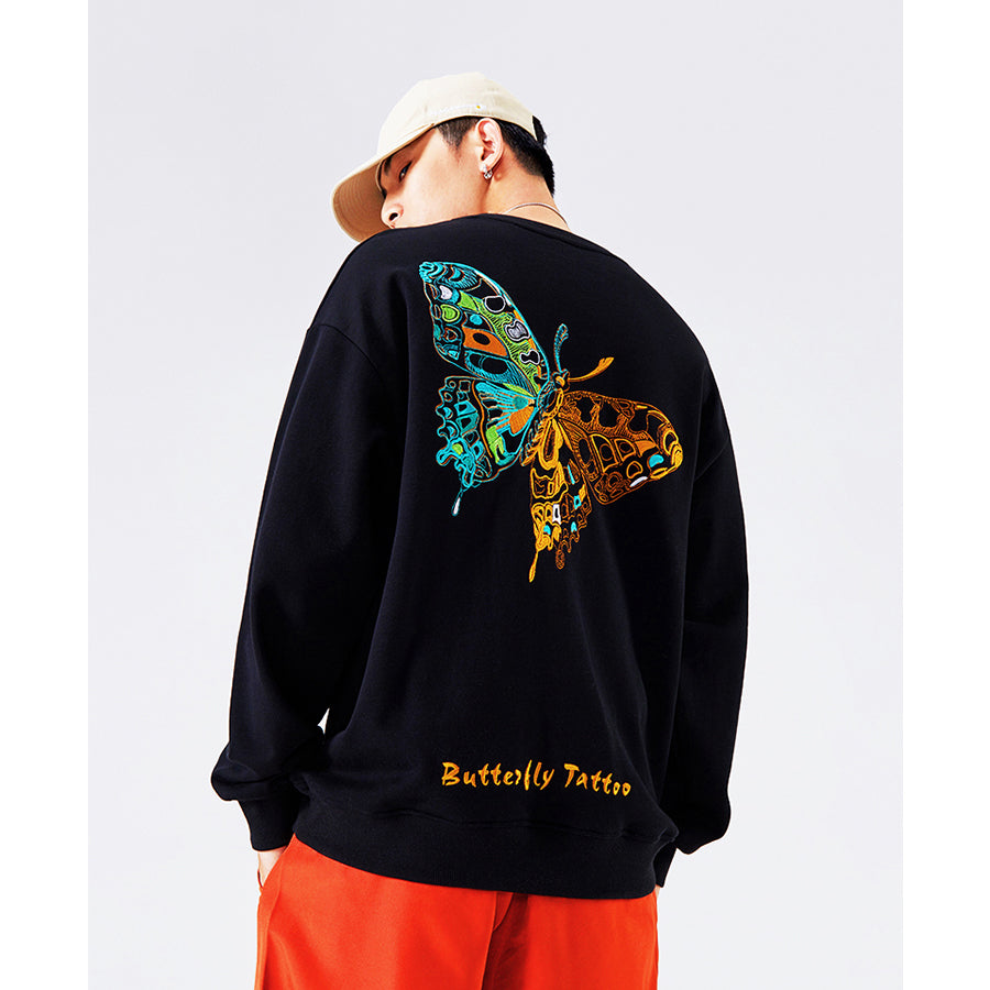 Butterfly Tattoo Embroidery Sweatshirt - 5 ELEMENTS
