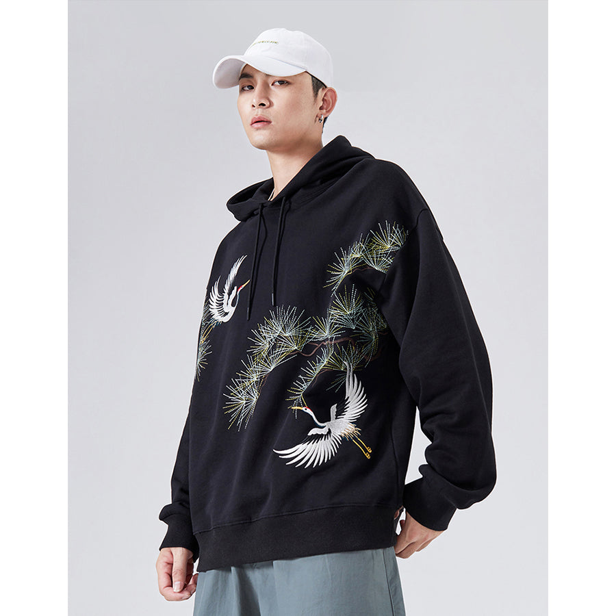 Snow White Cranes Embroidery Hoodie - 5 ELEMENTS