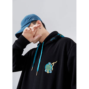 Azure Dragon Embroidery Hoodie - 5 ELEMENTS