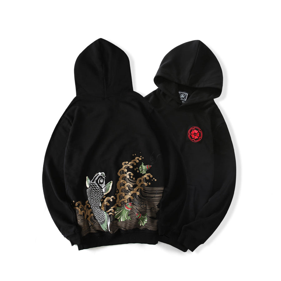 Japanese Leaping Koi Hoodie - 5 ELEMENTS