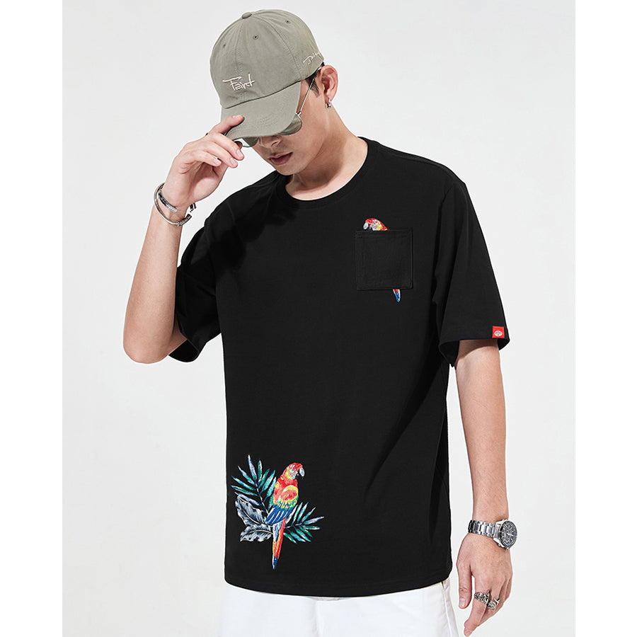 Scarlet Macaw Embroidery T-shirt - 5 ELEMENTS