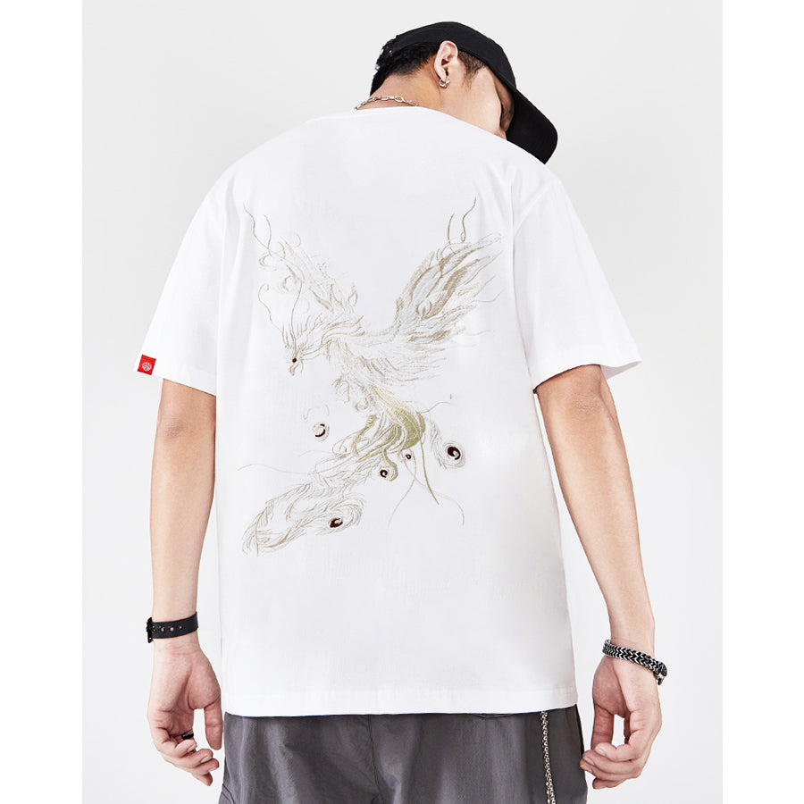 Sacred Phoenix Embroidery T-shirt - 5 ELEMENTS
