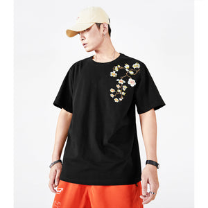 Floral Peacock Embroidery T-shirt - 5 ELEMENTS