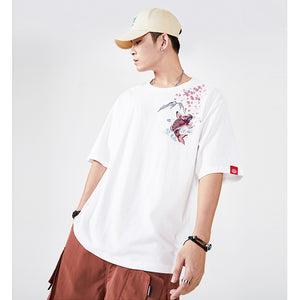 Cherry Blossom Koi Embroidery T-shirt - 5 ELEMENTS