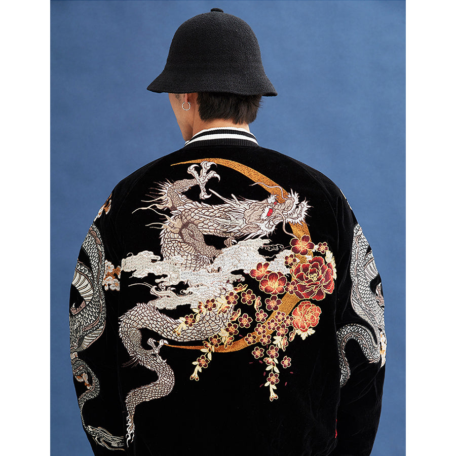 Azure Dragons Embroidery Bomber Jacket - 5 ELEMENTS