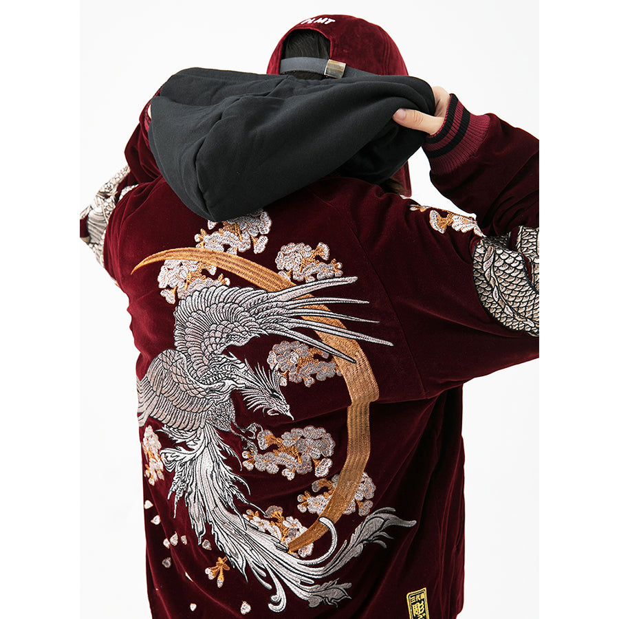 Rising Phoenix and Soaring Dragons Bomber Jacket - 5 ELEMENTS