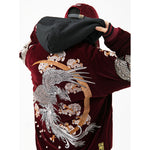 Rising Phoenix and Soaring Dragons Embroidery Bomber Jacket - 5 ELEMENTS