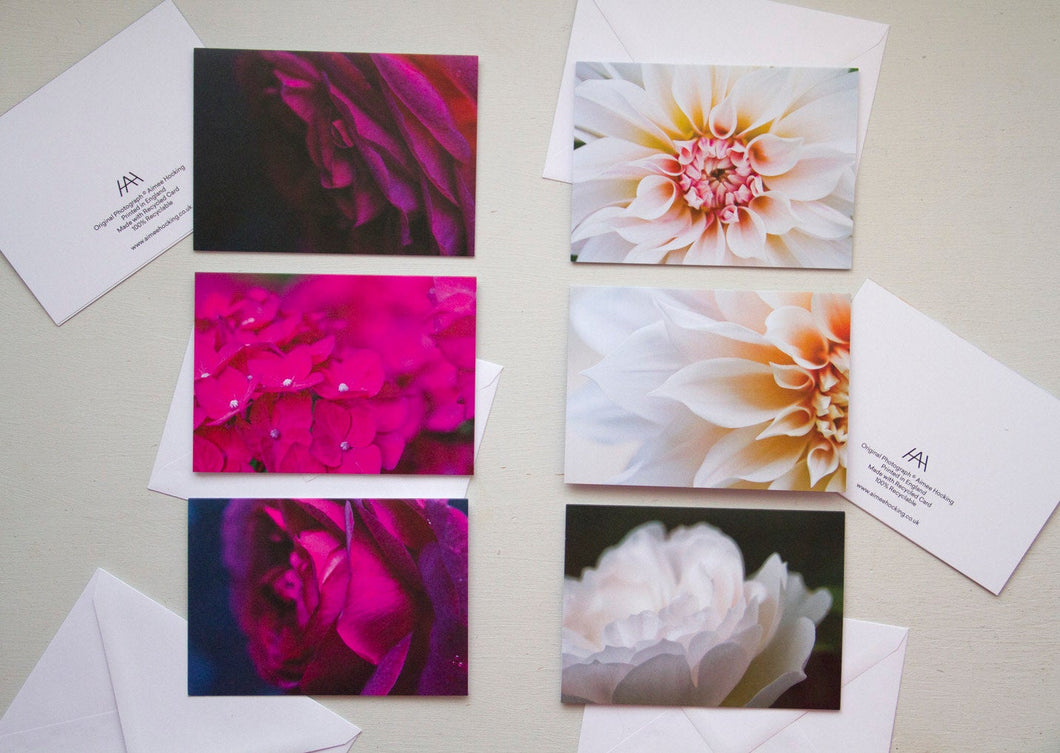 Greeting Card Multipack in Rose, Dahlia and Hydrangea Prints