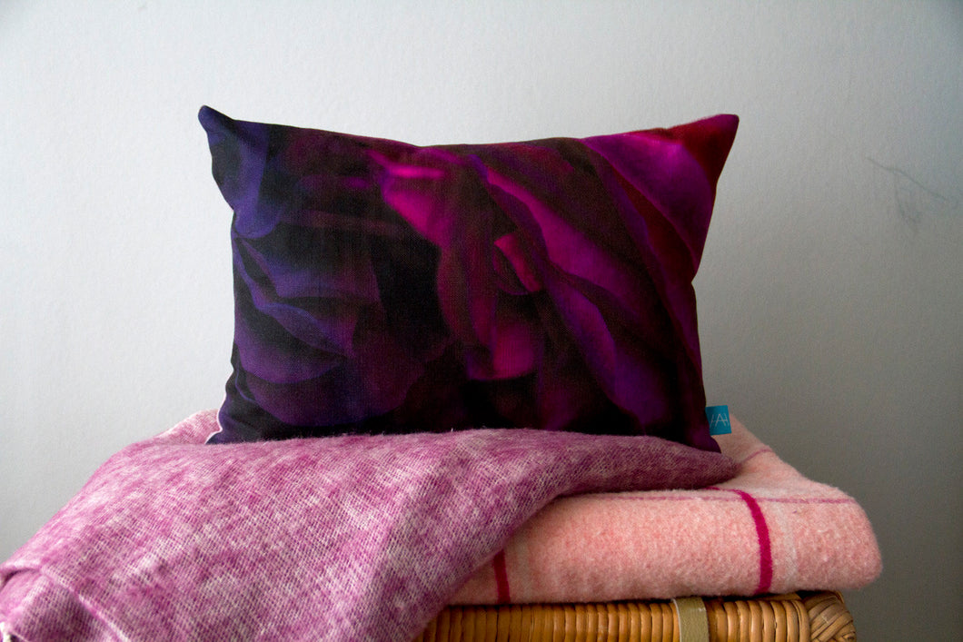 Rose Print Cushion with Purple Linen Backing