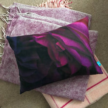 Load image into Gallery viewer, Rose Print Cushion with Purple Linen Backing