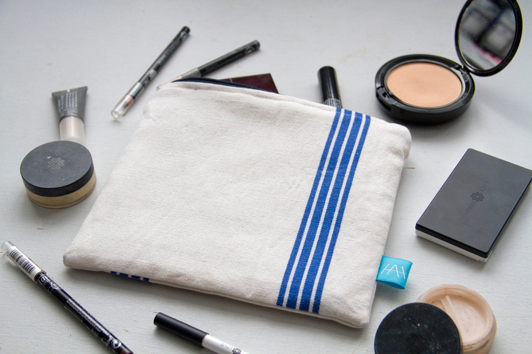 Make-up Bag Handmade with Vintage French Striped Cotton