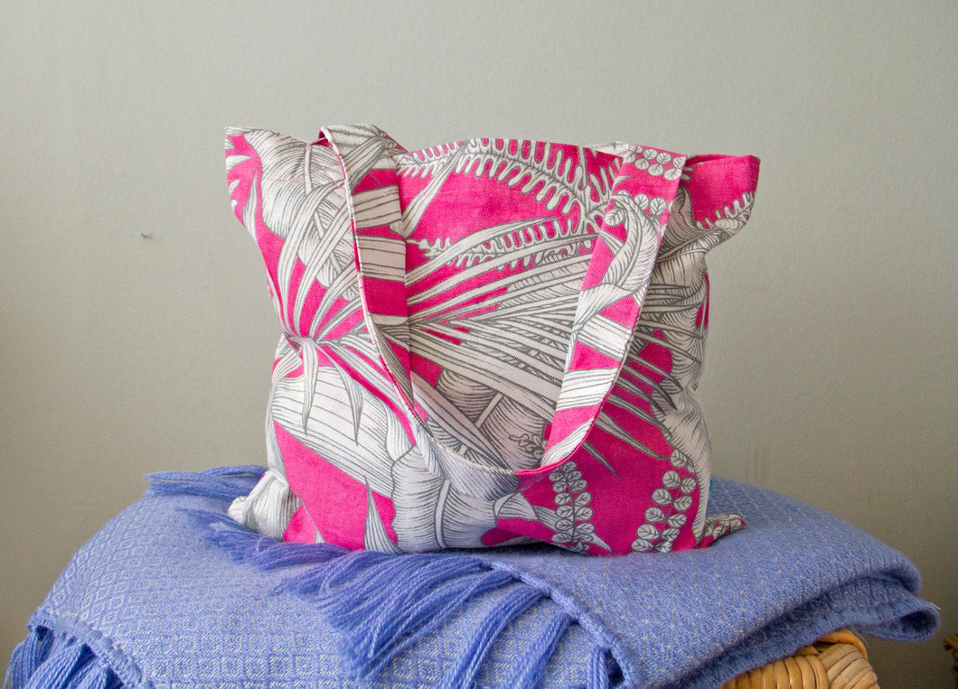 Tote Bag Handmade with Pink Tropical Leaf Print Cotton