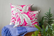 Load image into Gallery viewer, Cushions in Pink and Grey Tropical Print Cotton with Linen Backing
