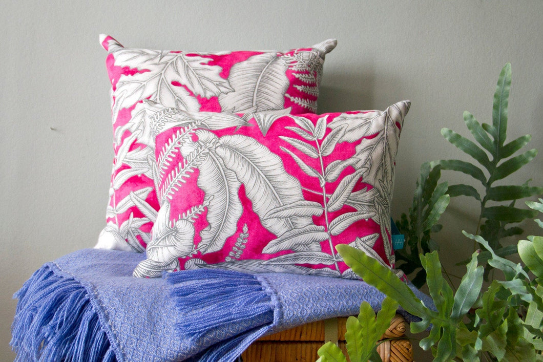 Cushions in Pink and Grey Tropical Print Cotton with Linen Backing
