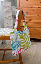 Load image into Gallery viewer, Tote Bag with Zip Pocket in Multi Coloured Tropical Leaf Print Cotton