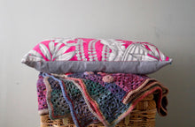 Load image into Gallery viewer, Long Cushions in Bright Pink Tropical Print Cotton and Grey Linen