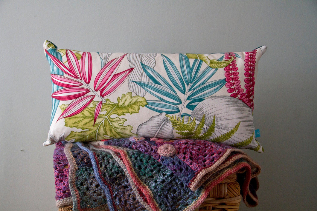 Colourful Cushion in Tropical Foliage Print Cotton and Teal Linen