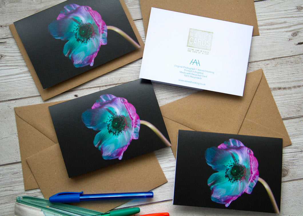 Greeting Card Multipack with Anemone Flower Print
