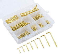 Load image into Gallery viewer, 170 Pcs 8 Sizes Gold Brass Screws Hook-INC-HW05-141