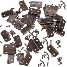 Load image into Gallery viewer, 50 Set Mini Hinges with Matching Screws for Jewelry Chest Box Wood Cabinet-INC-HW14-007