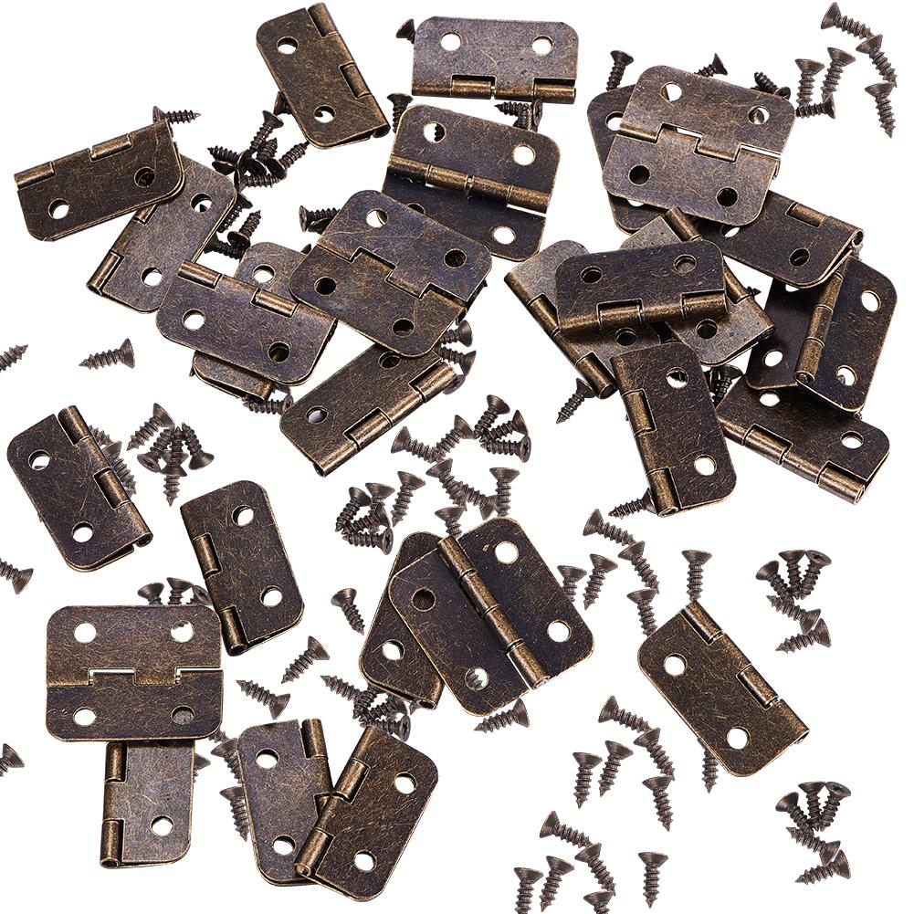 50 Set Mini Hinges with Matching Screws for Jewelry Chest Box Wood Cabinet-INC-HW14-007