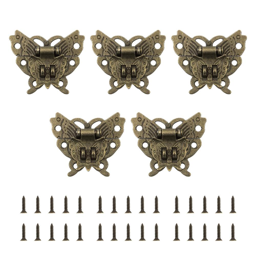 5pcs Alloy Butterfly Vintage Jewelry Box Suitcase Hasp Latch Buckle Lock-INC-HW14-046