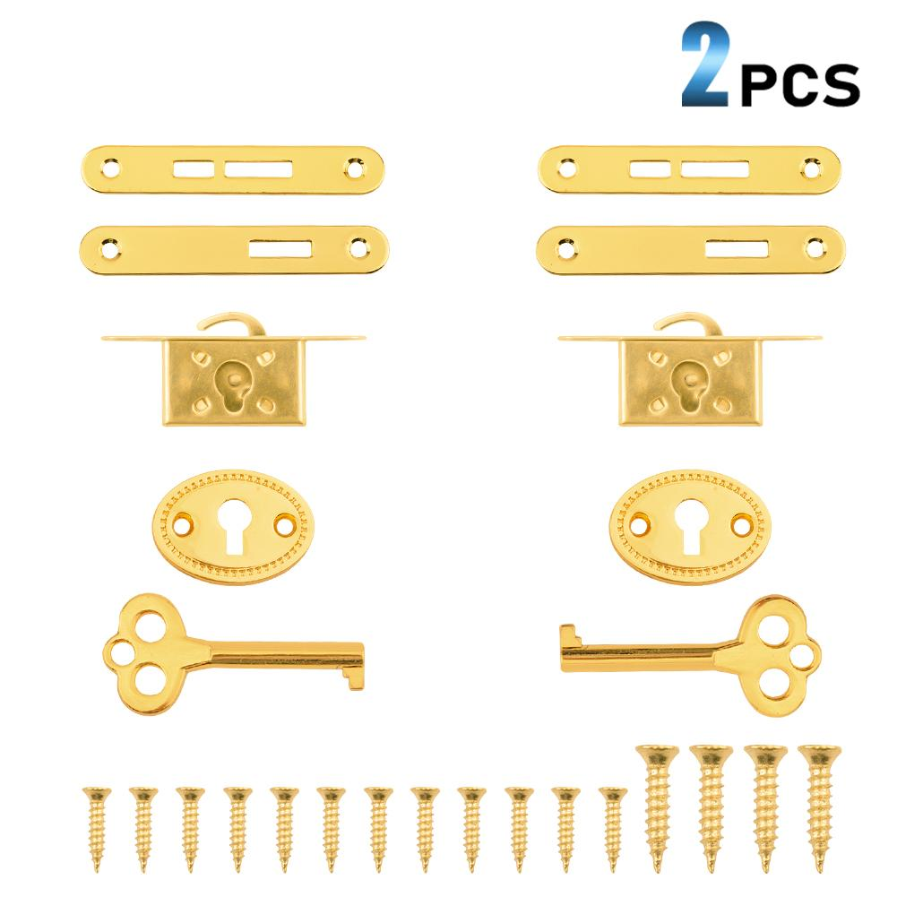 2 Pack Retro Cabinet Cupboard Jewelry Box Lock Plated Small Door Lock Decorative Antique Locks Replacement with Keys-INC-YF10-047