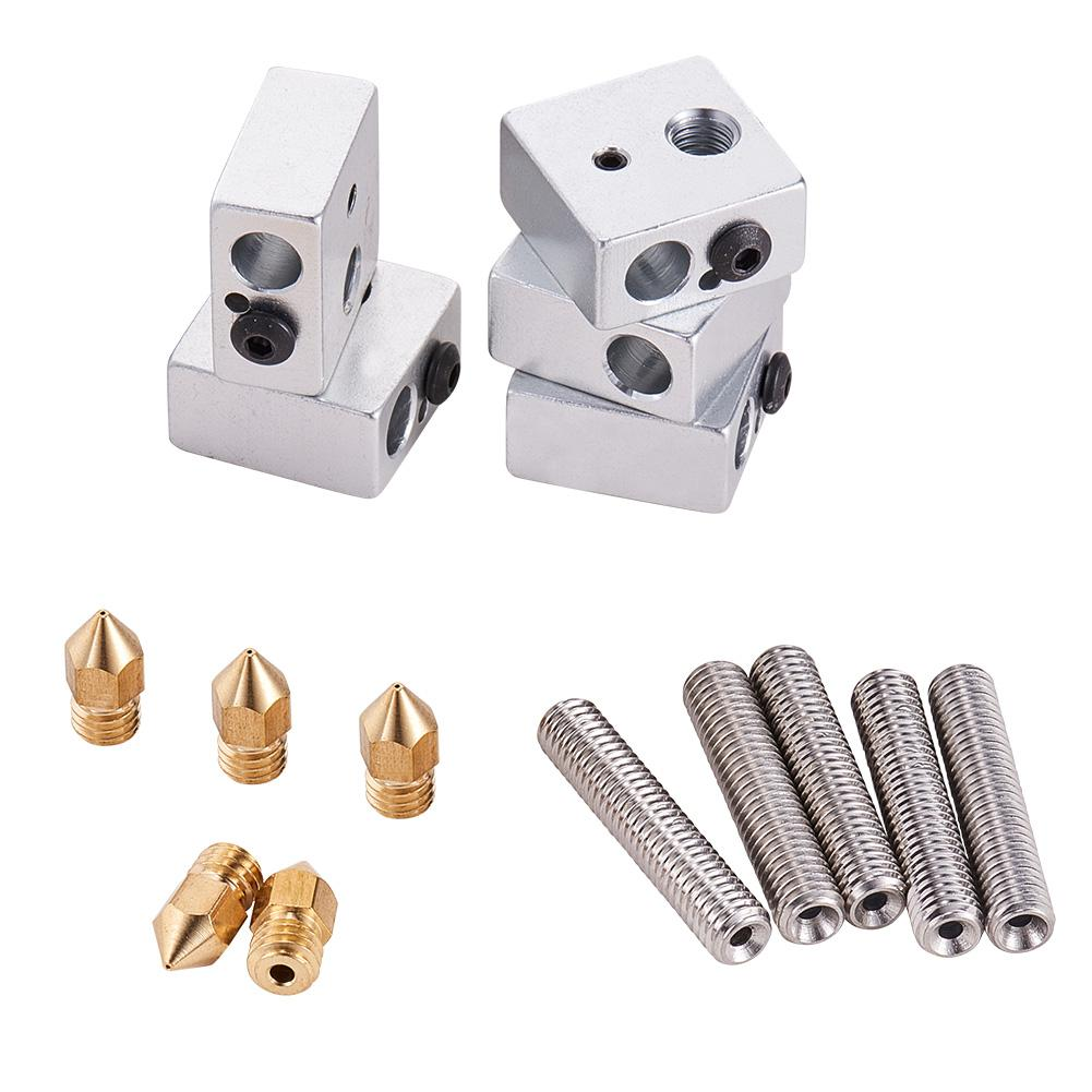 5pcs 30MM Length Extruder 1.75MM Teflon Throat Tube and 5pcs 0.4MM Brass Extruder Nozzle and 5pcs Heater Blocks Hotend-INC-HW13-139