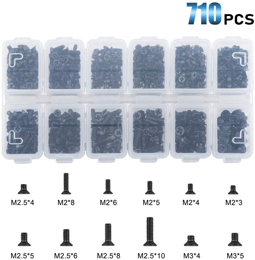 M2 M2.5 M3 KM Flat Head Phillips Screws, Black-INC-HW01-178