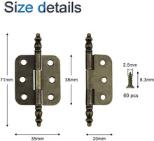Load image into Gallery viewer, 10pcs 35x71mm Antique Bronze Metal Crown Head 6 Holes Hinges-INC-HW14-045