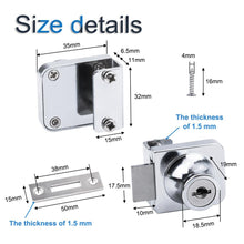 Load image into Gallery viewer, 2Pcs Zinc Alloy Square Mirror Surface Furniture Hardware Single Door Locks with Keys for 5-8mm Glass Door-INC-YF10-043